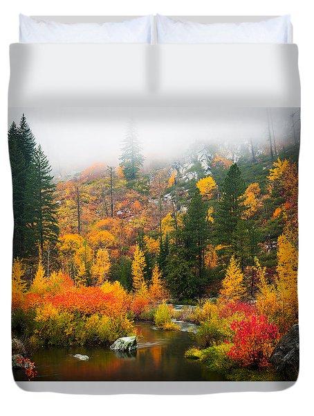 Duvet Cover featuring the photograph Autumn Colors Symphony by Dan Mihai