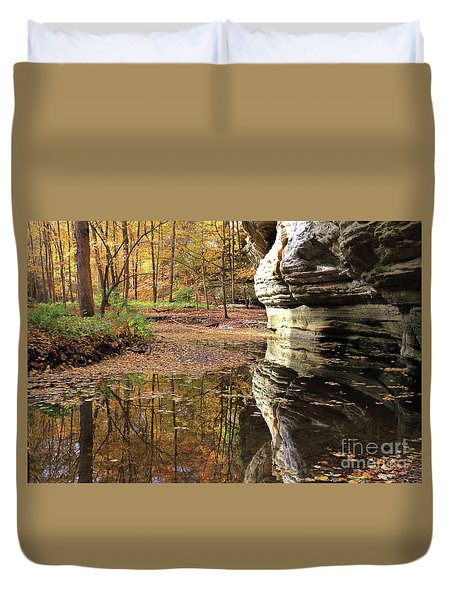 Autumn Comes To Illinois Canyon  Duvet Cover