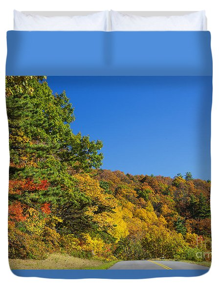 Autumn Country Roads Blue Ridge Parkway Duvet Cover by Nature Scapes Fine Art