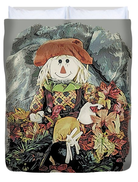 Duvet Cover featuring the digital art Autumn Country Scarecrow by Kathy Kelly