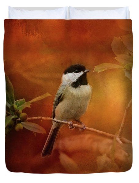 Autumn Day Chickadee Bird Art Duvet Cover by Jai Johnson