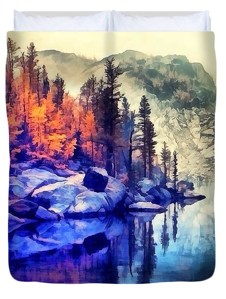 Autumn Day On The Lake. Duvet Cover