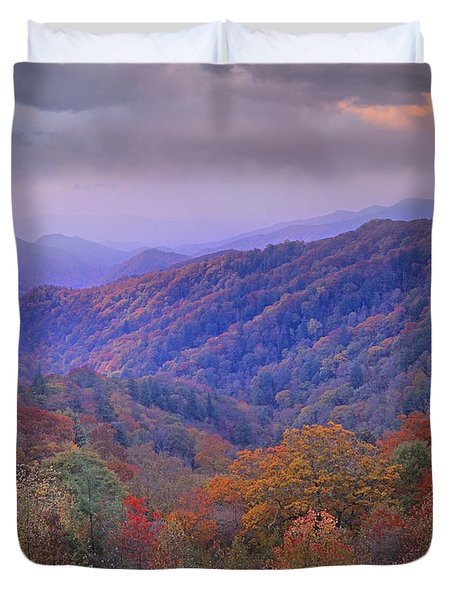 Autumn Deciduous Forest Great Smoky Duvet Cover by Tim Fitzharris