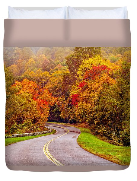 Autumn Drive On The Blue Ridge Duvet Cover by Alex Grichenko