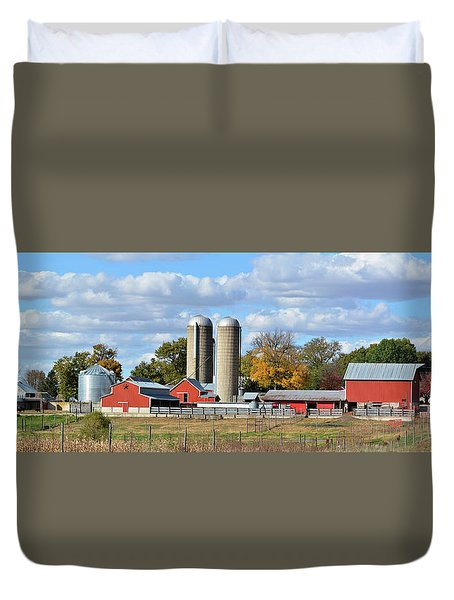 Autumn Elk Farm Duvet Cover