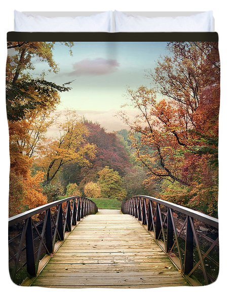 Duvet Cover featuring the photograph Autumn Encounter by Jessica Jenney