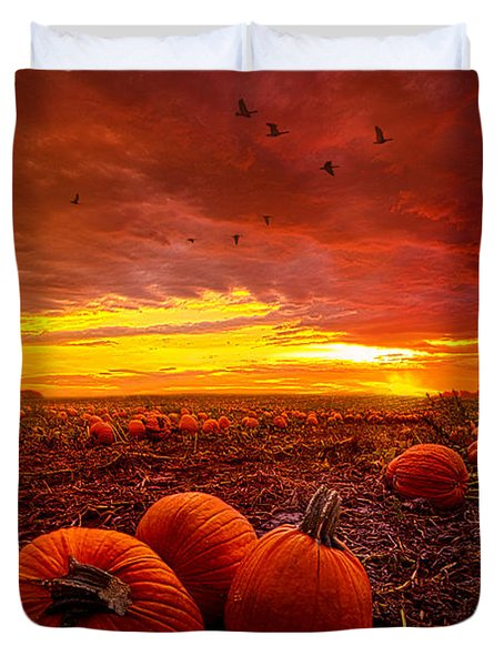 Autumn Falls Duvet Cover by Phil Koch