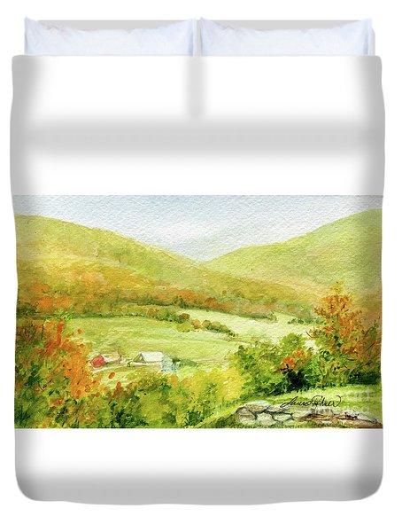 Autumn Farm In Vermont Duvet Cover
