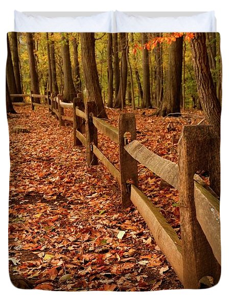 Duvet Cover featuring the photograph Autumn Fence by Angie Tirado