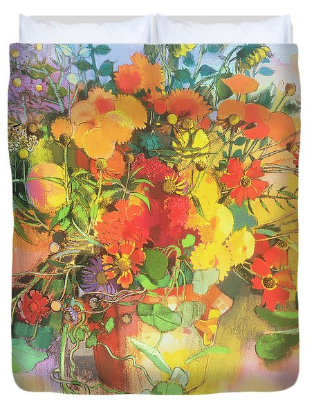 Autumn Flowers  Duvet Cover by Claire Spencer