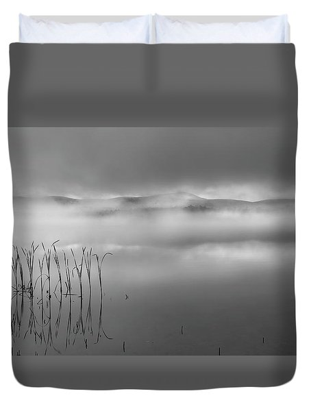 Duvet Cover featuring the photograph Autumn Fog Black And White by Bill Wakeley