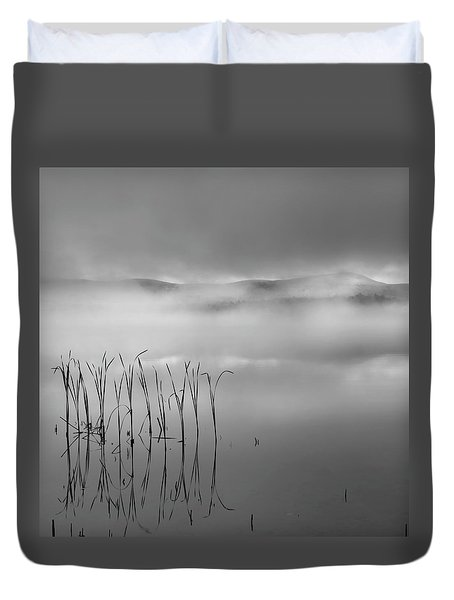 Duvet Cover featuring the photograph Autumn Fog Black And White Square by Bill Wakeley