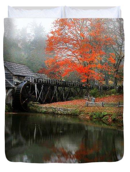 Autumn Foggy Morning At Mabry Mill Virginia  Duvet Cover