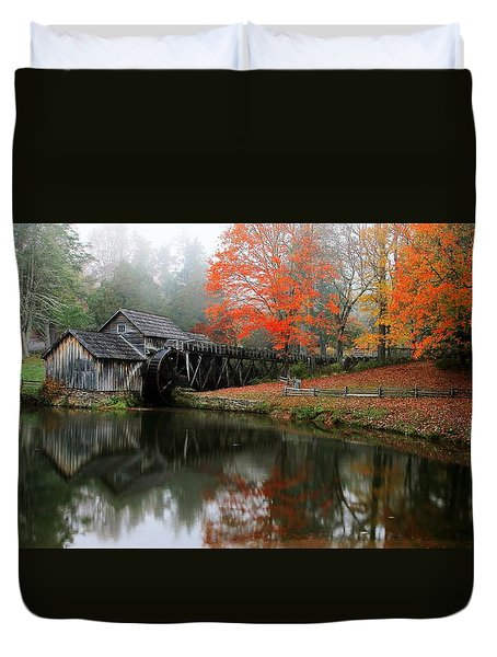 Autumn Foggy Morning At Mabry Mill Virginia  Duvet Cover
