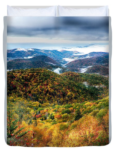 Autumn Foliage On Blue Ridge Parkway Near Maggie Valley North Ca Duvet Cover