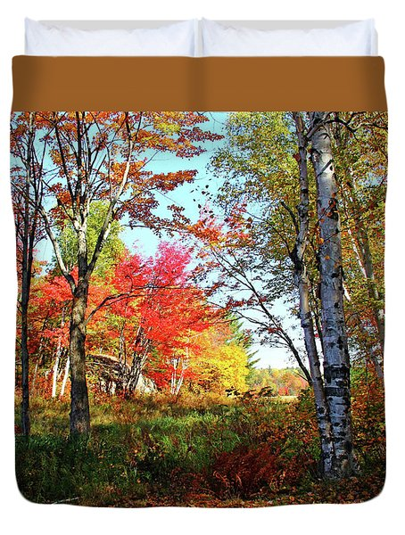Duvet Cover featuring the photograph Autumn Forest by Debbie Oppermann