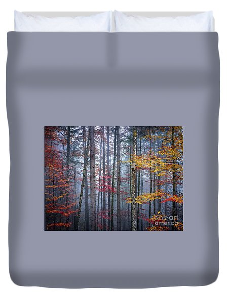 Duvet Cover featuring the photograph Autumn Forest In Fog by Elena Elisseeva