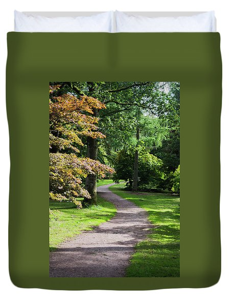 Duvet Cover featuring the photograph Autumn Forest Path by Scott Lyons