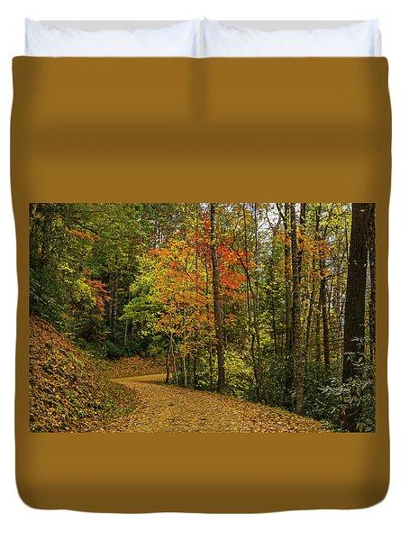 Autumn Forest Road. Duvet Cover