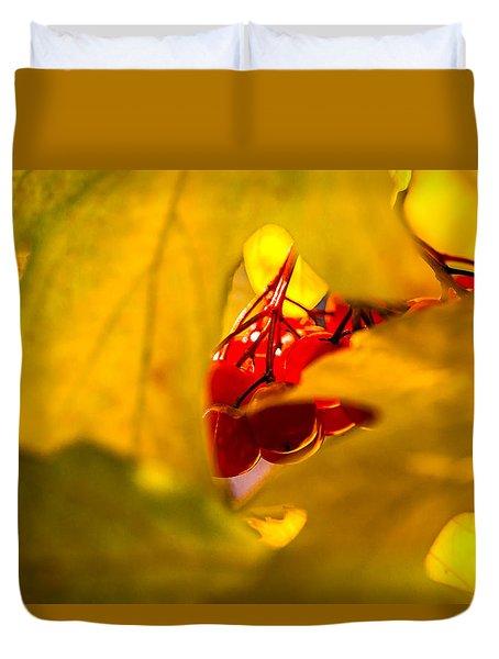 Duvet Cover featuring the photograph Autumn Fruits - Viburnum Berries by Alexander Senin