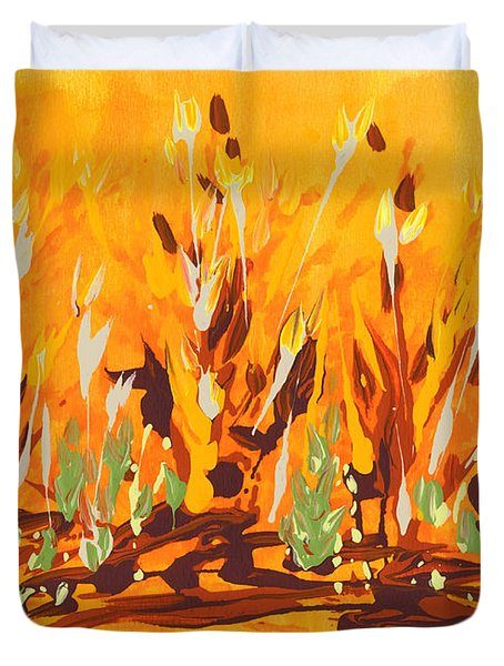 Duvet Cover featuring the painting Autumn Garden by Holly Carmichael