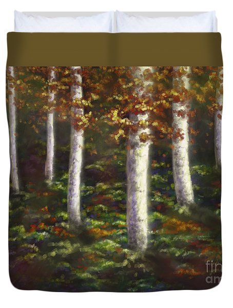 Duvet Cover featuring the digital art Autumn Ghosts by Amyla Silverflame