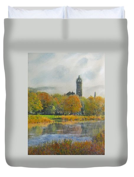 Autumn Glow Old Parish Church Peebles Duvet Cover by Richard James Digance