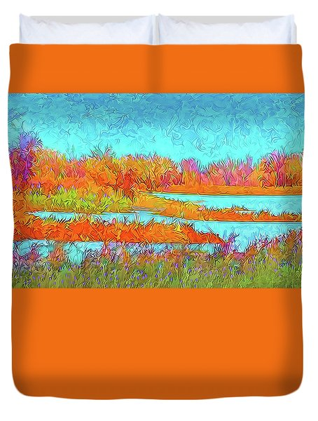 Duvet Cover featuring the digital art Autumn Grassy Meadow With Floating Lakes by Joel Bruce Wallach