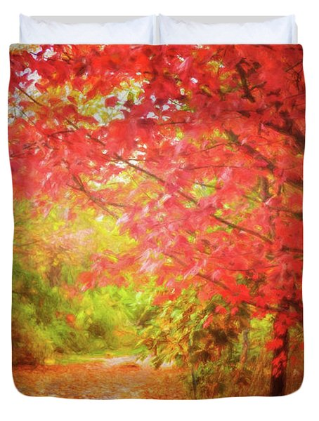 Glorious Foliage On The Rail Trail Duvet Cover