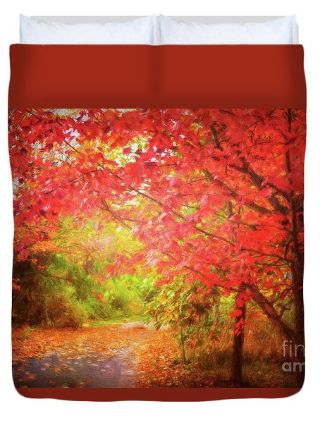 Glorious Foliage On The Rail Trail Duvet Cover