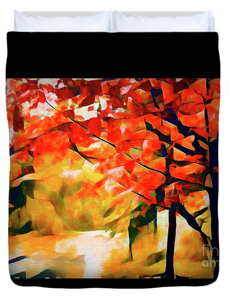 Glorious Foliage On The Rail Trail - Abstract Duvet Cover