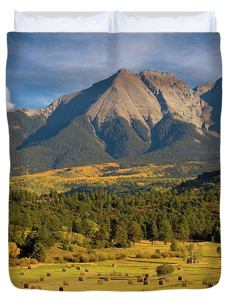 Autumn Hay In The Rockies Duvet Cover by Steve Stuller