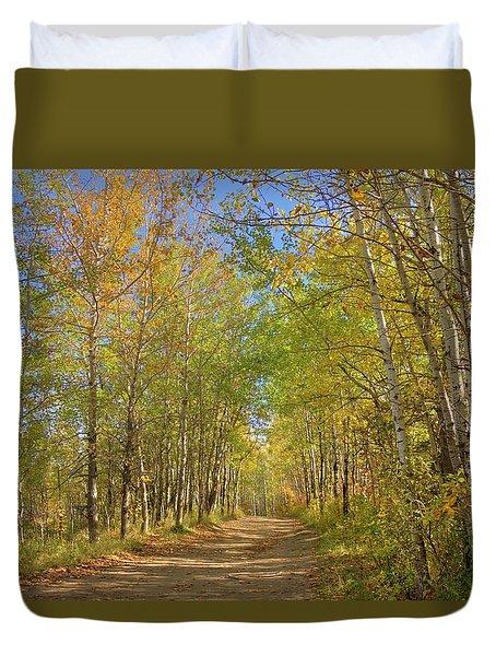 Duvet Cover featuring the photograph Autumn Hike by Jim Sauchyn