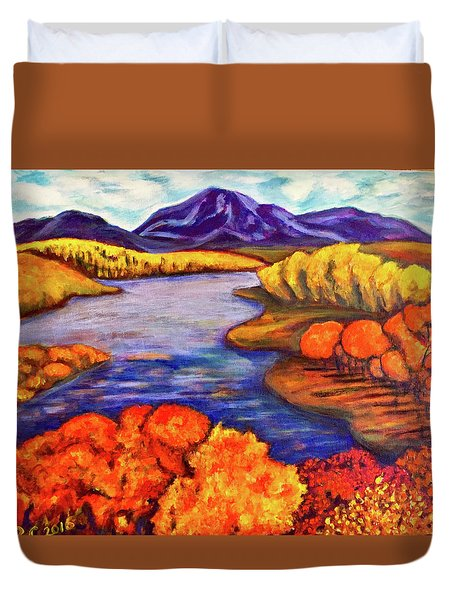 Duvet Cover featuring the painting Autumn Hues by Rae Chichilnitsky