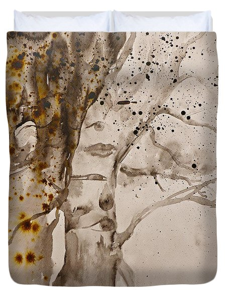 Autumn Human Face Tree Duvet Cover by AmaS Art