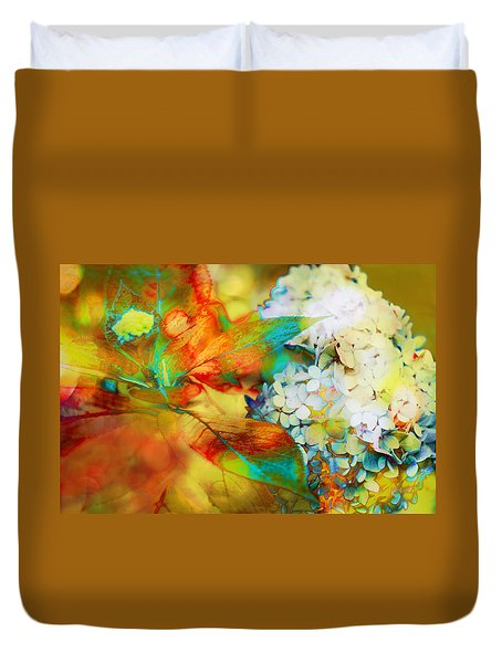 Autumn Hydrangea In Gold Duvet Cover