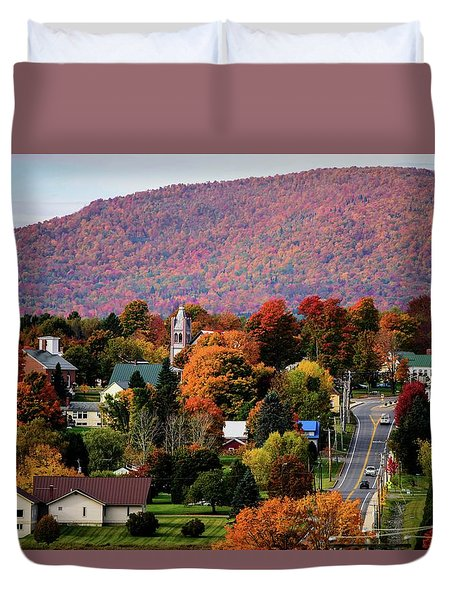 Autumn In Danville Vermont Duvet Cover by Sherman Perry