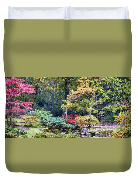 Duvet Cover featuring the photograph autumn  in Japanese park by Ariadna De Raadt
