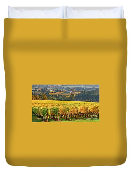 Autumn In Oregon Wine Country Duvet Cover