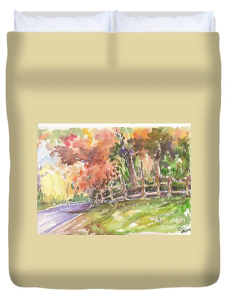 Duvet Cover featuring the painting Autumn In The Air by Asha Sudhaker Shenoy