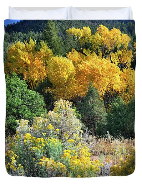 Duvet Cover featuring the photograph Autumn In The Canyon by Ron Cline