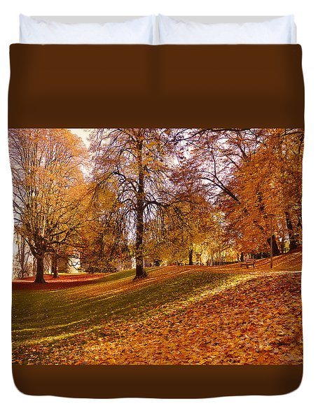 Autumn In The City Park Maastricht Duvet Cover by Nop Briex