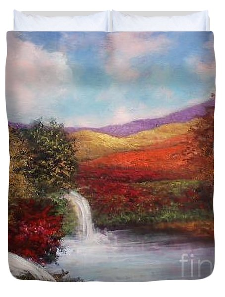 Duvet Cover featuring the painting Autumn In The Garden Of Eden by Randol Burns