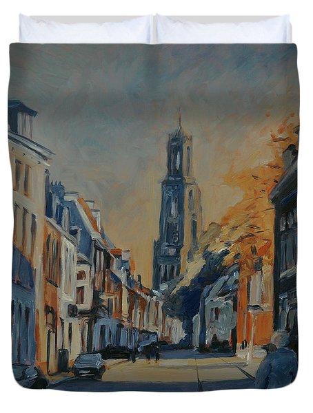 Autumn In The Lange Nieuwstraat Utrecht Duvet Cover