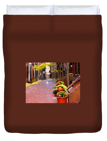 Duvet Cover featuring the photograph Autumn In The North End by Bruce Carpenter