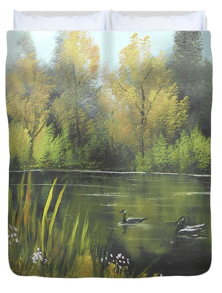 Autumn In The Park Duvet Cover by Angela Stout