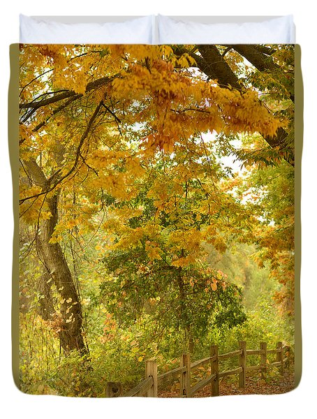 Autumn In The Park Duvet Cover by Pamela Patch