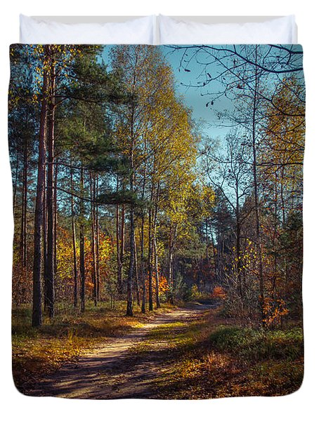 Autumn In The Woods Duvet Cover by Dmytro Korol
