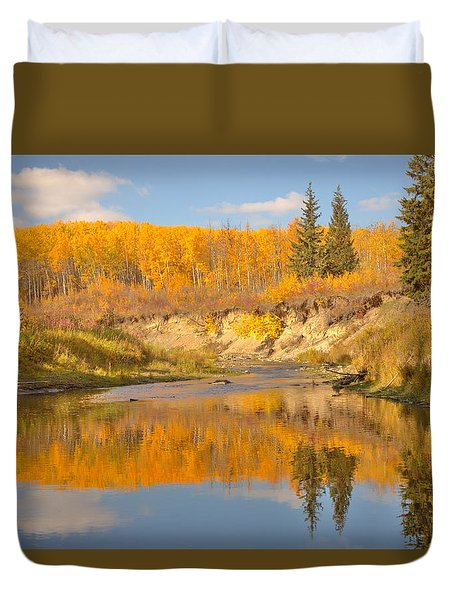 Duvet Cover featuring the photograph Autumn In Whitemud Ravine by Jim Sauchyn