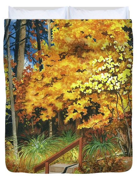 Duvet Cover featuring the painting Autumn Invitation by Barbara Jewell
